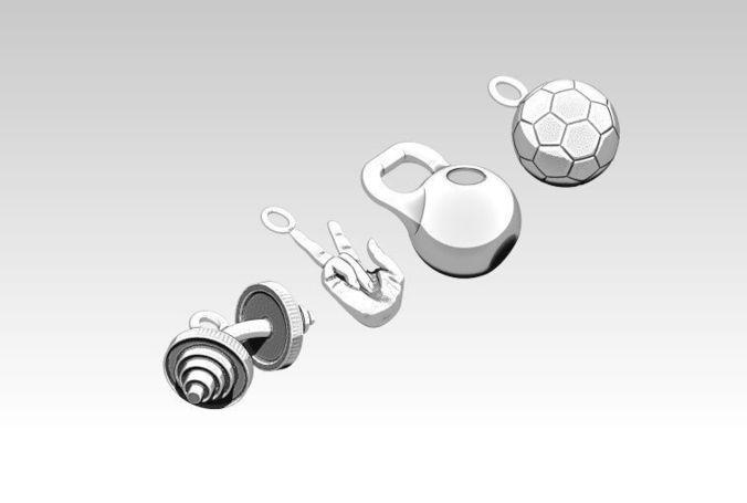 pendant jewel sport set barbell weight victory sing soccer ball 3d model obj mtl stl 1