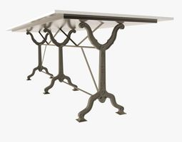 3d model restoration hardware  factory zinc  cast iron dining tables