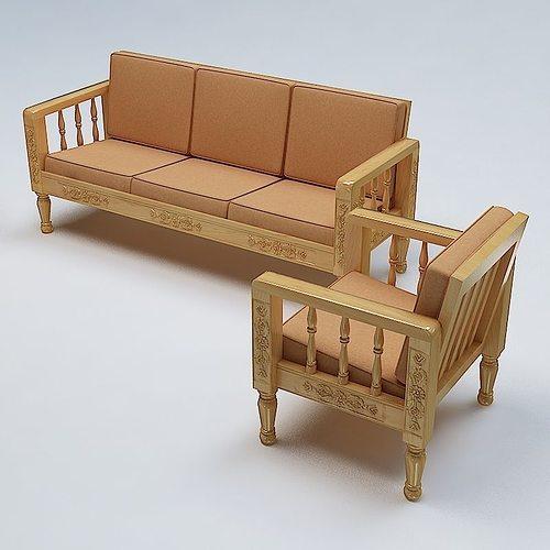 Sofa Set Wooden 3d Cgtrader