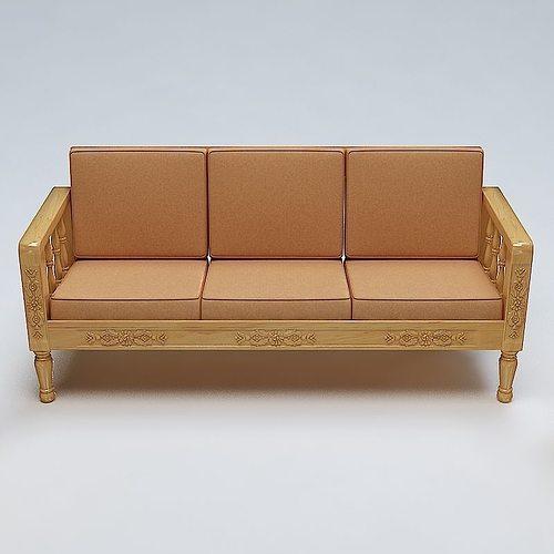 ... Sofa Set Wooden 3d Model Max Obj 3ds Fbx Lwo Lw Lws Mtl 4 ...