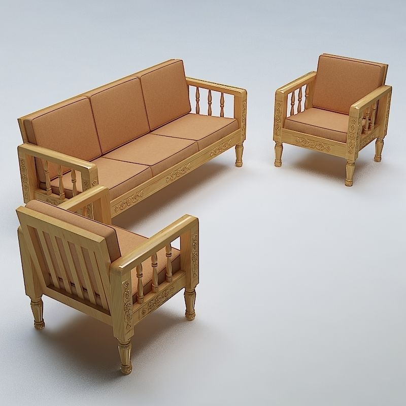 Sofa Set Wooden Model Max Obj Mtl S Fbx Lwo Lw Lws 1