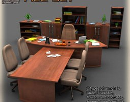 realtime 3d asset office set 2