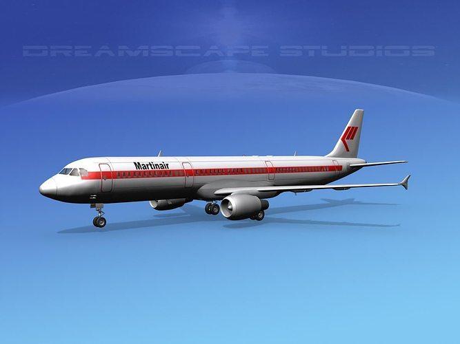 airbus a321 martinair 3d model max obj mtl 3ds lwo lw lws dxf stl 1