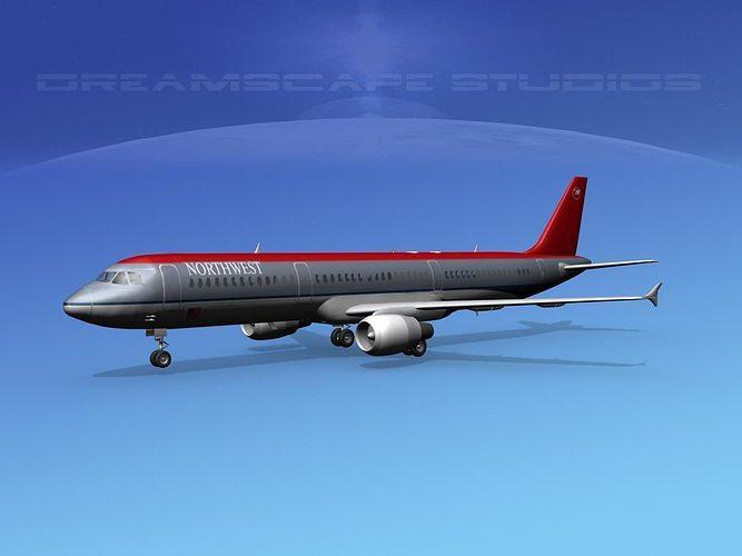 airbus a321 northwest 3d model max obj mtl 3ds lwo lw lws dxf stl 1