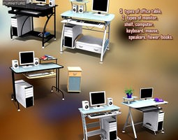 Office Set office-furniture 3D model VR / AR ready