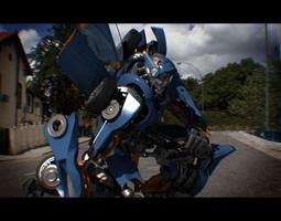 3d model m10 transformer-like robot animated