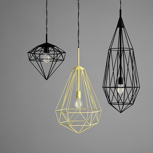 Hanging Ceiling Light 3d Autocad Model: 3D Model Jspr Diamonds Ceiling Light