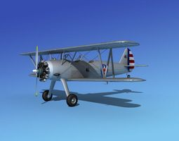 Stearman PT-17 Kaydet Military Trainer 3D model
