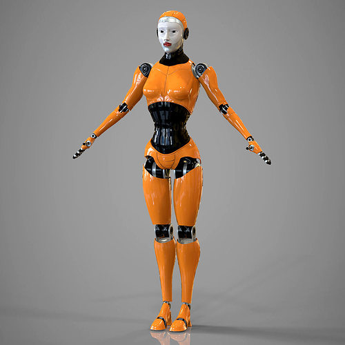 robotic girl 3d model max obj fbx ma mb stl 1