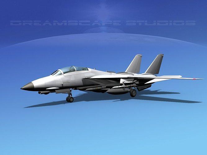 grumman f-14d tomcat bare metal  3d model animated max obj mtl 3ds lwo lw lws dxf stl 1