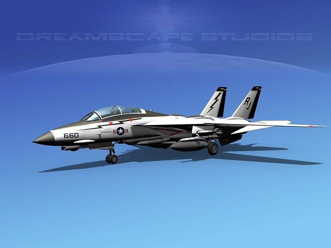 grumman f-14d tomcat t01a vf100 3d model animated max obj mtl 3ds lwo lw lws dxf stl 1