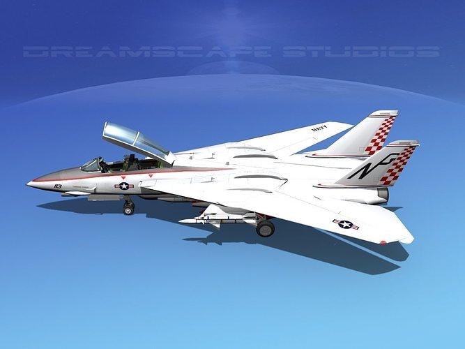 grumman f-14d tomcat t06a vf211 3d model animated max obj mtl 3ds lwo lw lws dxf stl 1