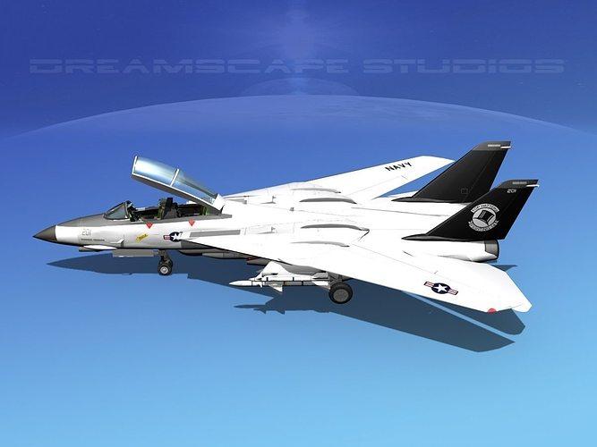 grumman f-14d tomcat t14a vf14 3d model animated max obj mtl 3ds lwo lw lws dxf stl 1