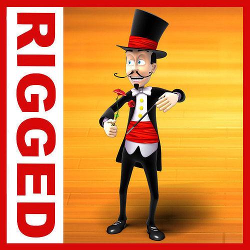 magician cartoon rigged 3d model low-poly rigged max obj mtl 1