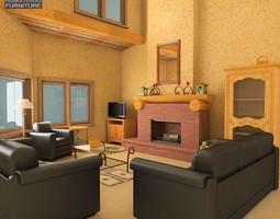 3D model Living Room Set 01