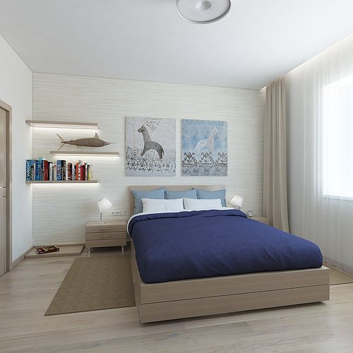 3d Bedroom With Blue Blanket Cgtrader