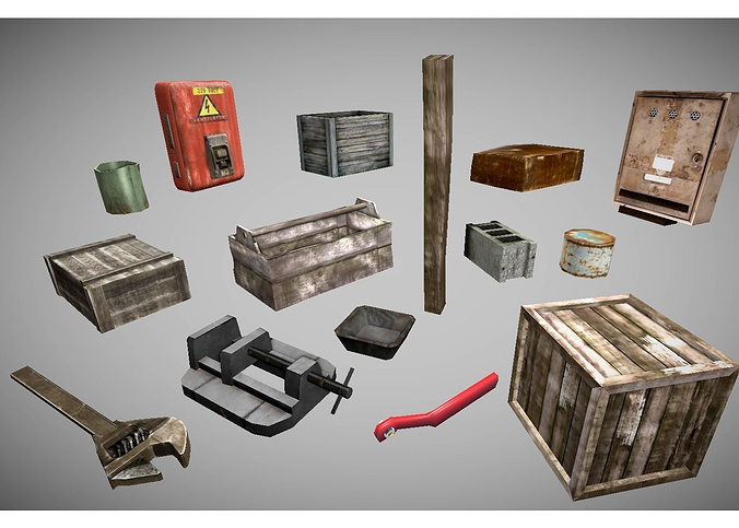 low poly garage objects collection 3d model low-poly 3ds fbx lwo lw lws blend 1