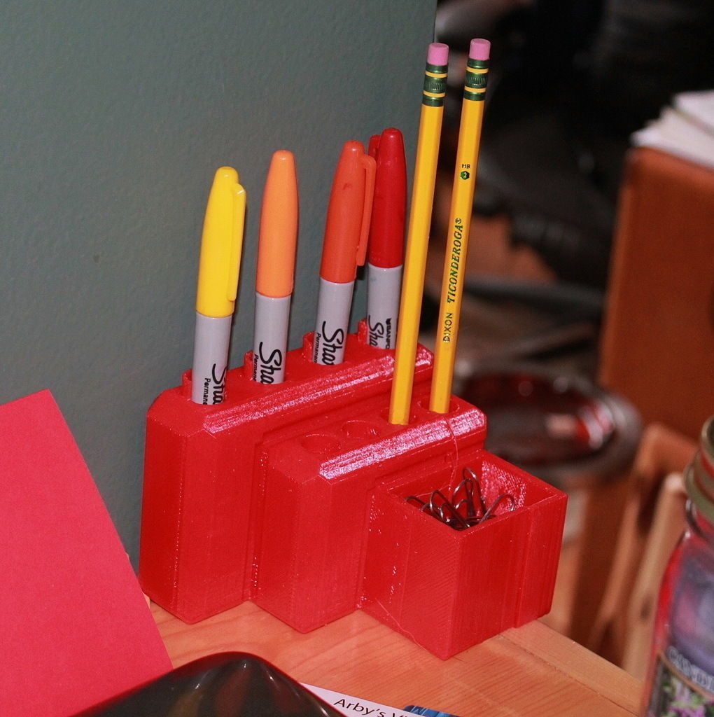 Pencil And Pen Holder Free 3D Model 3D Printable STL