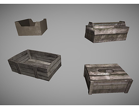 3D model low poly crates collection