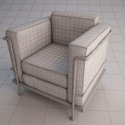 le corbusier chair 3d model max obj ma mb 2 - Le Corbusier Chair