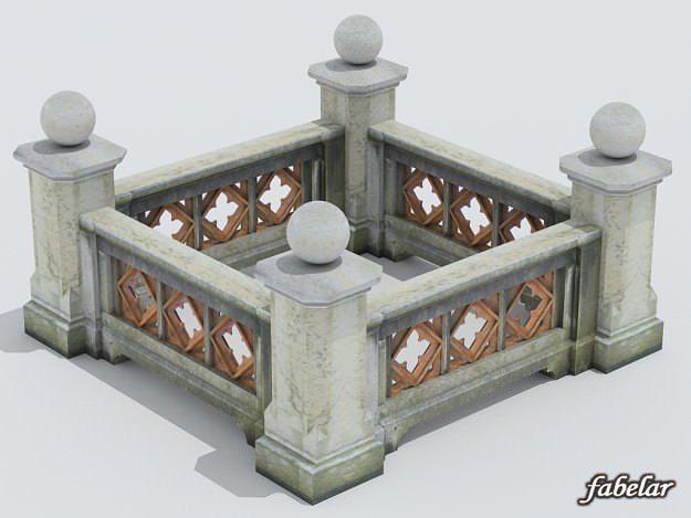 balustrade 3d model max obj 3ds c4d mat 1