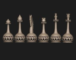 chess set 3D printable model ornament