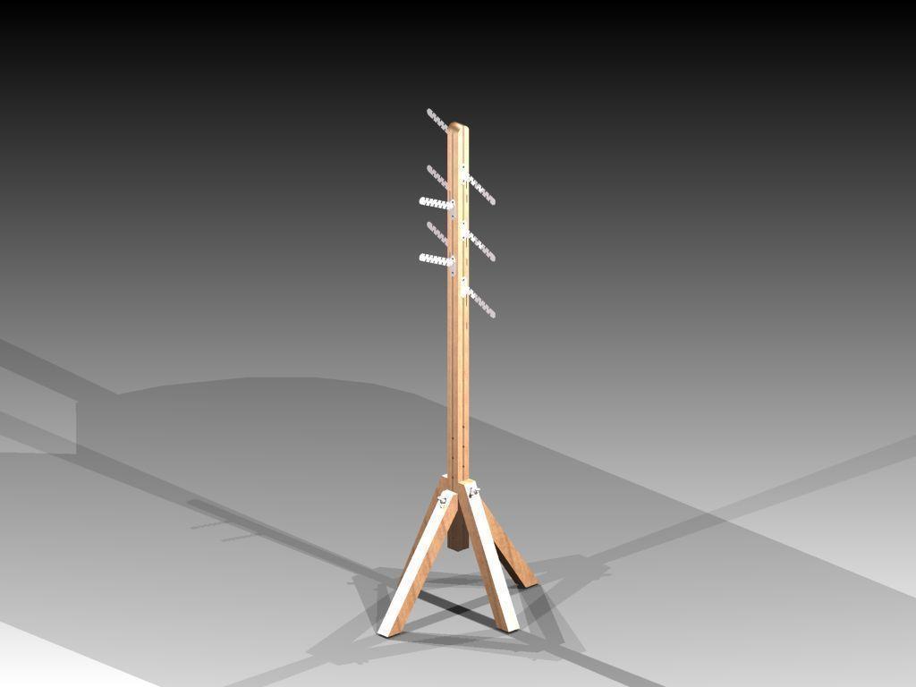 Wooden Adjustable Coat Rack free 3D Model STL IAM IPT ...
