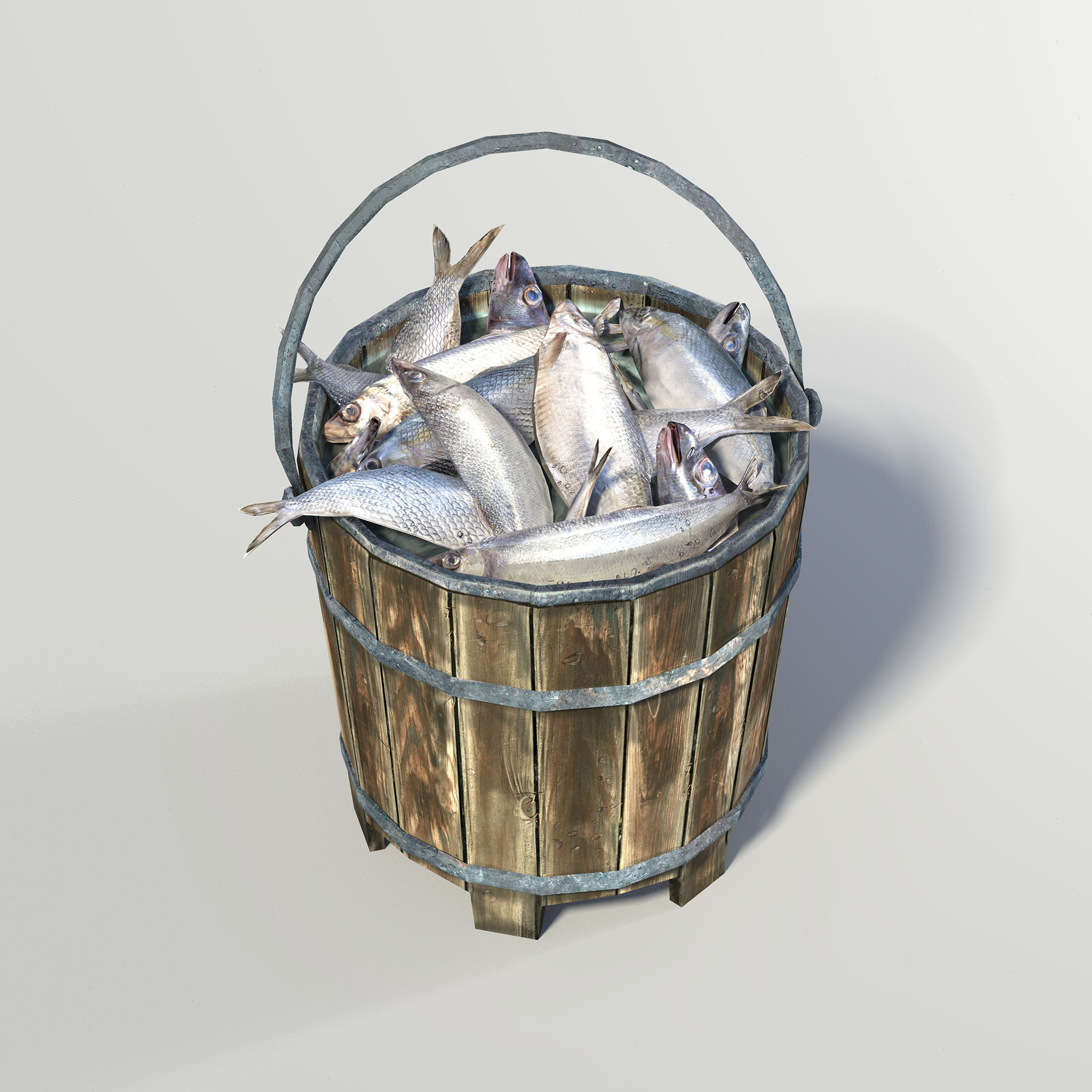 Bucket fish 3d model game ready obj ma mb mtl for Bucket of fish