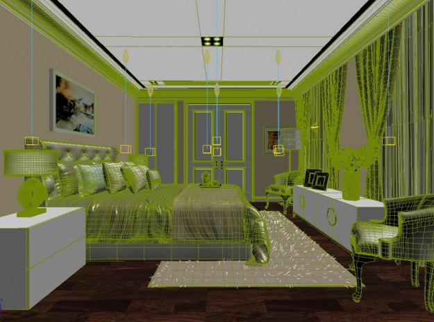 bedroom or hotel room 04 3d model animated rigged max