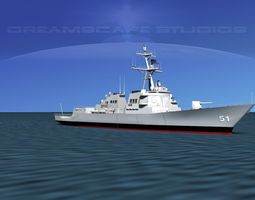3d model burke class destroyer ddg 51 uss arleigh burke rigged