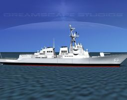 3d model rigged burke class destroyer ddg 63 uss stethem