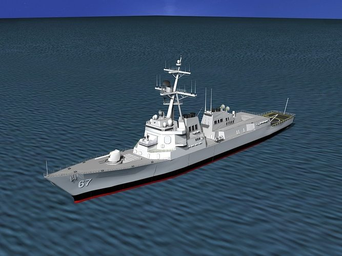 burke class destroyer ddg 67 uss cole 3d model max 3ds lwo lw lws dxf stl 3dm 1