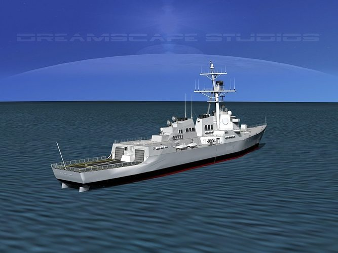 burke class destroyer ddg 68 uss the sullivans 3d model rigged max 3ds lwo lw lws dxf stl 3dm 1
