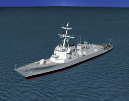 burke class destroyer ddg 91 uss pinckney rigged 3d