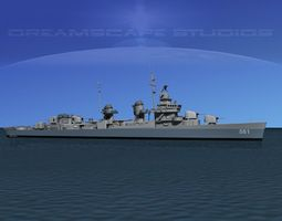 rigged fletcher class destroyer dd-581 uss charrett 3d