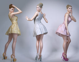 Girl wearing summer dresses 3D