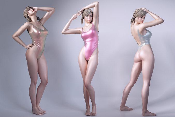 girls wear sports swimsuit 3d model max obj fbx mtl 1