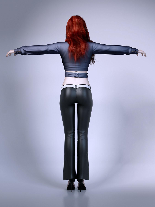 Pretty Lady Wearing Leather Pants 3d Model Max Obj Fbx Mtl