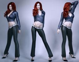 3D model Pretty lady wearing leather pants