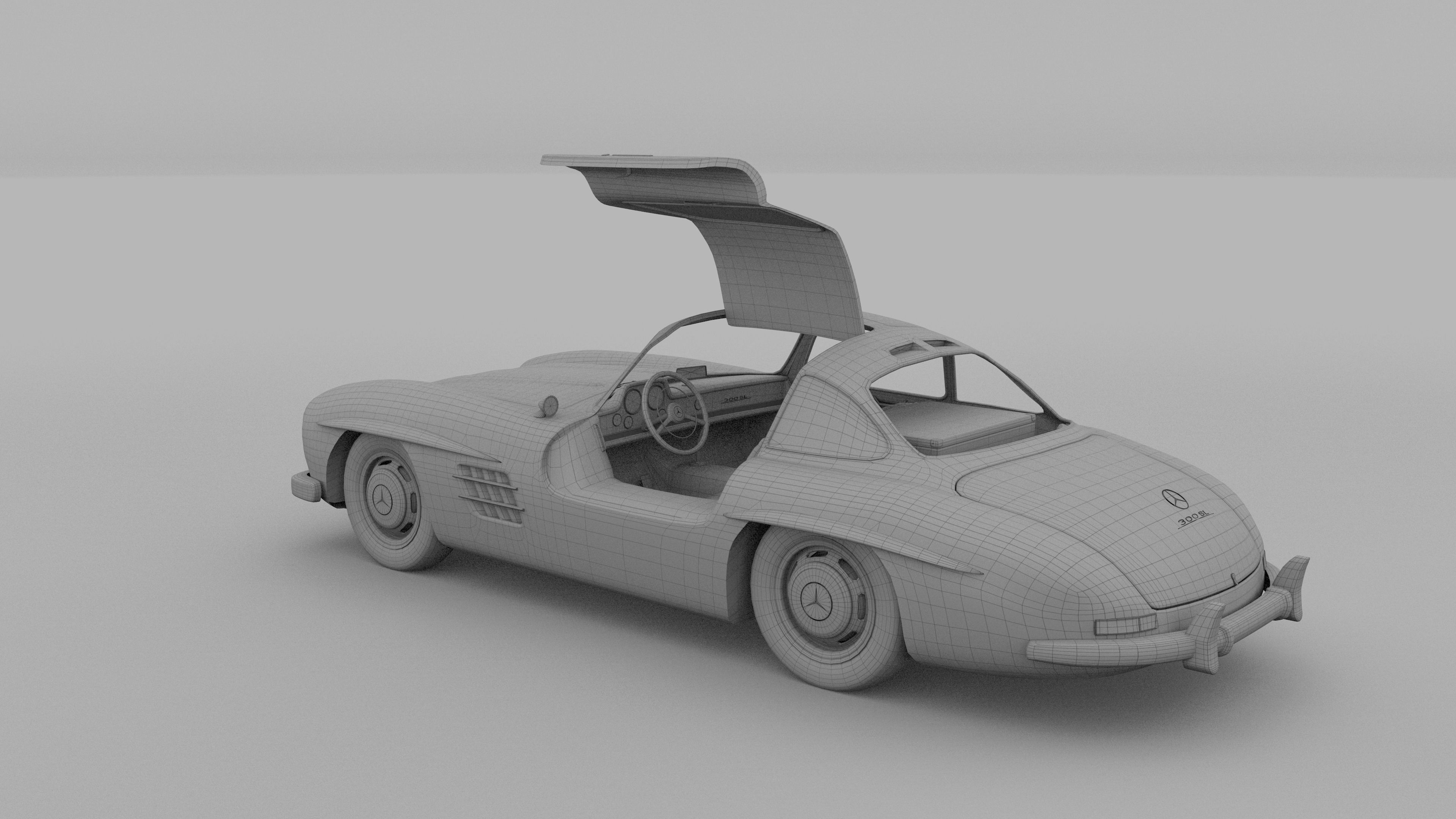 rigged mercedes 300sl gullwing with interior 3d model rigged obj stl blend dae mtl. Black Bedroom Furniture Sets. Home Design Ideas