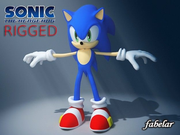 sonic rigged 3d model rigged max mat 1