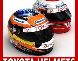 Jarno Trulli and Timo Glock F1 Helmets 3D Model