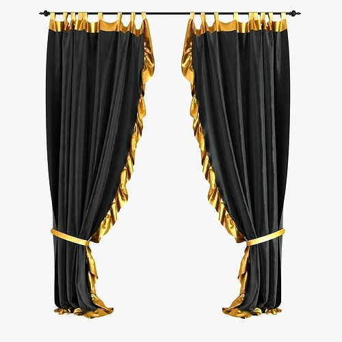 3D Black Velvet Curtains