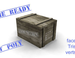 3D model Ammo box wood game ready
