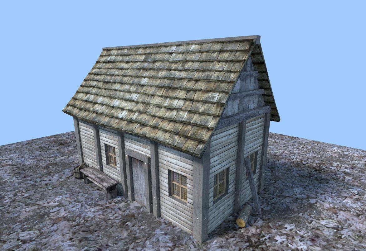... Small Medieval House 3d Model Obj 3ds Fbx Blend Dae X 3 ...