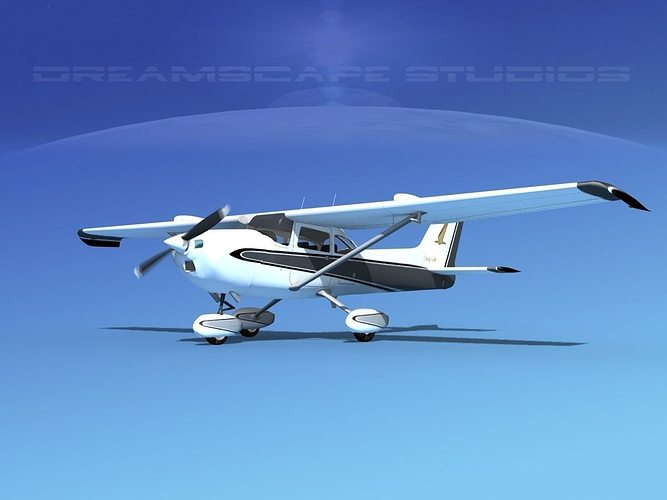 cessna 172 skyhawk stol v04 3d model animated max obj mtl 3ds lwo lw lws dxf dwg 1