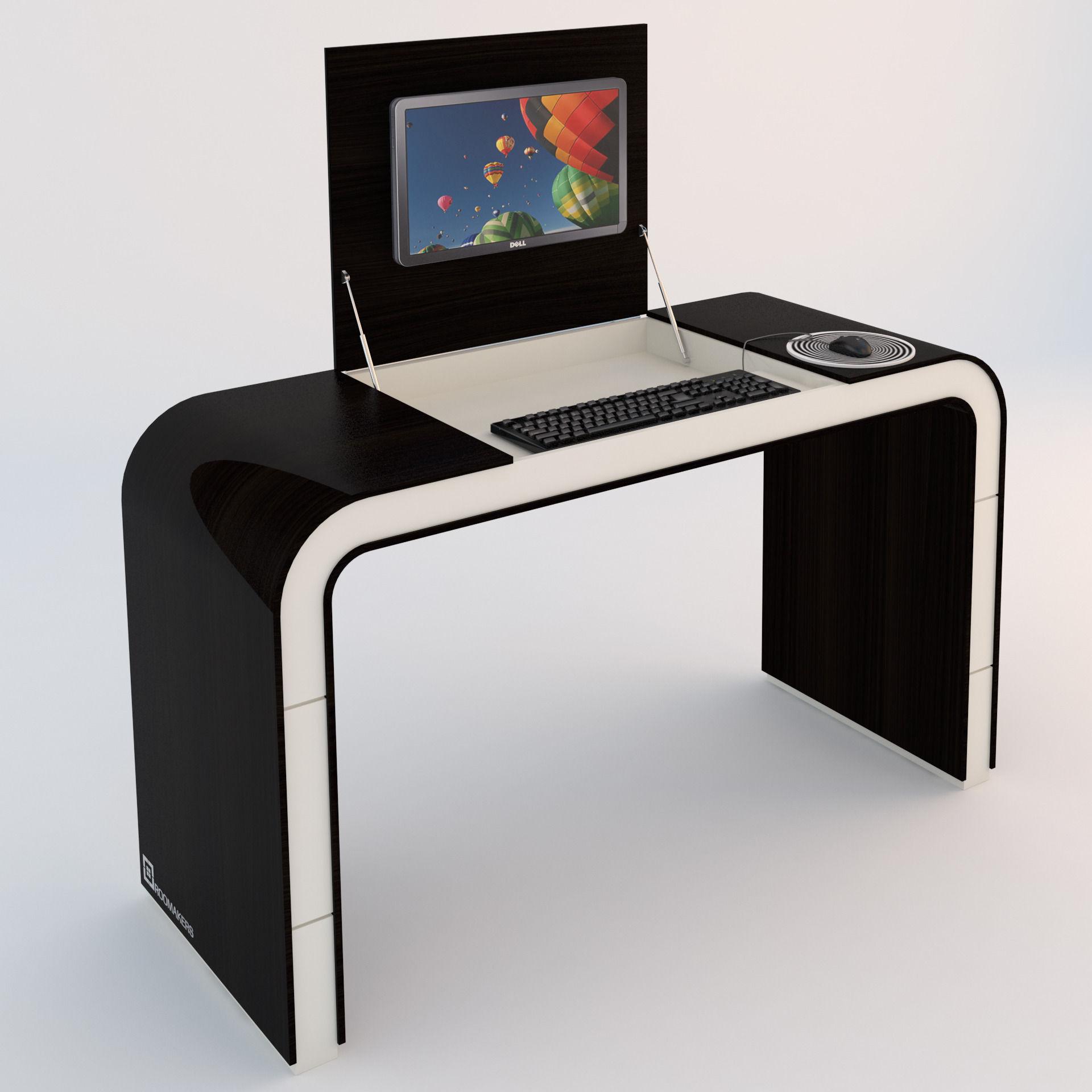 3d model pc table vr ar low poly max obj 3ds. Black Bedroom Furniture Sets. Home Design Ideas