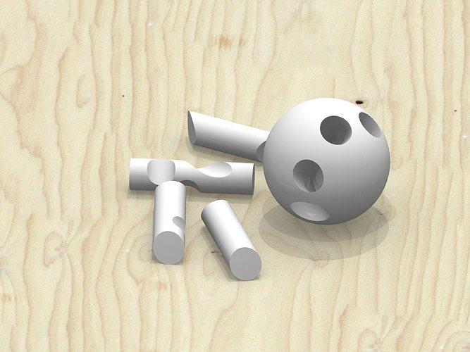 3d model cross sphere puzzle cgtrader. Black Bedroom Furniture Sets. Home Design Ideas