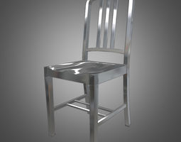 navy metal chair 3d model game-ready