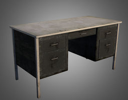 3D asset Old Office Desk